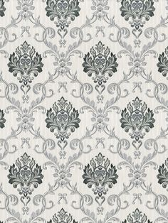 This stylish Duplex Damask wallpaper will make a great focal point in your home. The design features an intricate damask pattern in tones of silver and grey with contrasting matte and metallic sections, set on a thin striped metallic silver background with a beautiful sheen. Easy to apply, this high quality wallpaper would look great as a feature wall or equally good when used to decorate a whole room. Metallic Wallpaper, Damask Wallpaper, Paper Wallpaper, Damask Patterns, White Patterns, Pattern Matching, High Quality Wallpapers, Colours, Organization