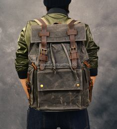 waxed canvas buckled strap closure backpack rucksack
