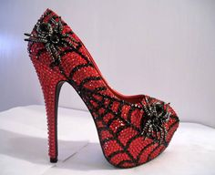 Spider-Man stilettos ( cool although i hate spiders :'( ) Hot Shoes, Crazy Shoes, Me Too Shoes, Shoes Heels, Bling Heels, Rhinestone Shoes, Sparkly Heels, Glitter Heels, Black Rhinestone