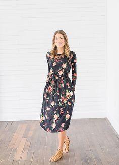 Black Floral Long Sleeve Dress from Bella Ella Boutique    Black Long Sleeve Dress. Black Floral Dress. Floral Dress for Spring. Bella Ella Boutique. Womens Online Clothing Boutique. Utah Boutique. Womens Modest Fashion. Modest Womens Boutique. Boutique Clothing.