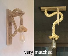Pair of Reclaimed wood sconce with rope Rope wall lamp