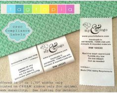QTY 50 HANG/FLAT Custom Clothing labels thermal by Tagtopia