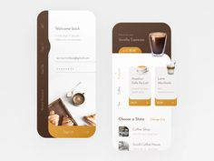 Coffee Shop Mobile App designed by Anastasia Marinicheva. Connect with them on Dribbble; the global community for designers and creative professionals. Web Design Mobile, App Ui Design, Interface Design, User Interface, Blog Design, Design Design, Graphic Design, App L, Mobile App Ui