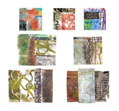 This week I decided it was time to create some new collage papers, with the gelli plate as part of my plan. It was a fun morning in the studio, and some interesting collages resulted.