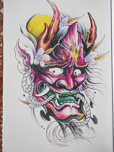 彩色般若纹身手稿 Hannya Mask Tattoo, Hanya Tattoo, Oni Mask, Mascara Samurai Tattoo, Mascara Hannya, Oriental Tattoo, Hawaiian Tattoo, Masks Art, Creepy Art