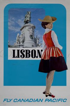 Lisbon Vintage Travel Poster By Canadian Pacific Airlines