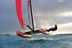 The Flying PHANTOM is a new generation of foiling catamarans. Basically its a boat that flies (in the right conditions)