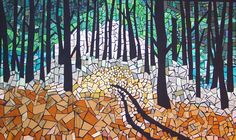 """""""Forest Quiet"""" artwork mosaic created with fabrics"""