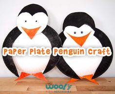 Easy preschool craft of a paper plate penguin, all you need to make it is two paper plates and black and orange paint.