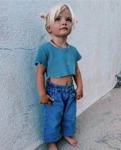 Obsessed with Hazels denim look 💙 vintage Levi's heaven by paired with the ultimate crop made on Kauai Cute Baby Girl, Cute Babies, Baby Kids, Cute Outfits For Kids, Cute Kids, Baby Girl Fashion, Kids Fashion, Future Mom, Foto Baby