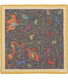 Drakes Navy Dragon Print Wool and Silk-Blend Pocket Square