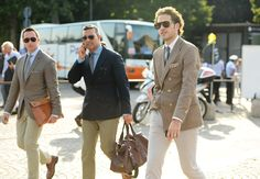Sand and beige pants go great with the right blazers. Tommy Ton's Street Style: Pitti Uomo