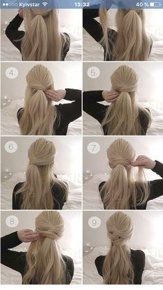 Brautfrisur - beautiful hair styles for wedding Diy Hairstyles, Pretty Hairstyles, Ladies Hairstyles, Easy Ponytail Hairstyles, Hairstyles 2018, Quick Easy Hairstyles, Hairstyles Videos, Easy Updos For Long Hair, Popular Hairstyles