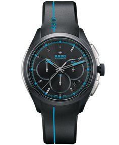 Rado Men's Swiss Automatic Chronograph HyperChrome Sport Black Rubber Strap Watch 45mm R32525159 - Rado - Jewelry & Watches - Macy's