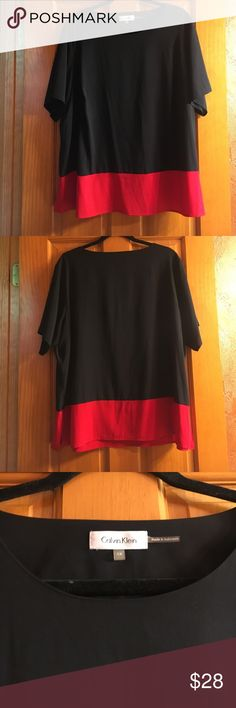 Calvin Klein Black & Red Blouse 🖤❤️ Calvin Klein Black & Red Blouse 🖤❤️ Size: 1X Short Sleeve Blouse! Perfect condition!! 97% polyester & 3% spandex! Perfect for everyday or for a more formal setting! Calvin Klein Tops Blouses
