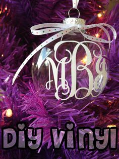 Personalized Monogram Ornament Vinyl Decal / DIY Vinyl Stickers / Christmas gift / Holiday gift