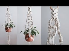 Macrame Plant hanger using wave pattern #2 / 마크라메 플랜트 행거 만들기 - YouTube Macrame Wall Hanging Diy, Macrame Plant Hangers, Macrame Projects, Macrame Tutorial, Macrame Knots, Wave Pattern, Hanging Planters, String Art, Yarn Crafts