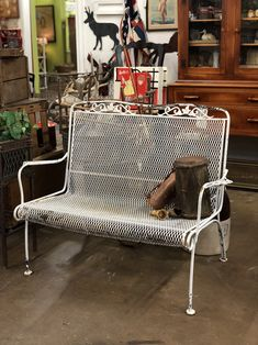 "Vintage Outdoor Bench On Sale  45.5"" Wide x 25"" Deep x 34"" High   Was $150 Sale Price $120  Vintage Affection Dealer #1680  White Elephant Antiques 1026 N. Riverfront Blvd., Dallas, TX 75207"