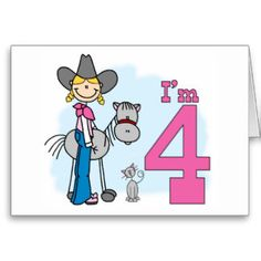 Stick Cowgirl 4th Birthday  Fill-in Invitations Stationery Note Card and birthday set, shirts, buttons, stickers, stamps.