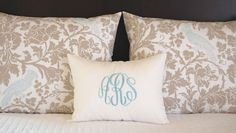 Pillow Shams Taupe and Aqua Bedding Decorative Throw Pillow Covers Standard Full Queen Bedding 19 x 25 Includes Monogrammed Pillow Cover by FestiveHomeDecor on Etsy https://www.etsy.com/listing/152930999/pillow-shams-taupe-and-aqua-bedding