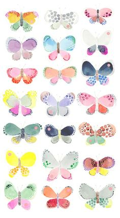 #Butterflies - #Watercolour paint by Studio Sjoesjoe