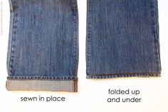 How to Shorten Jeans by Ashley: Clear instructions and photos. (This would also be great for a growing child with pants which are a bit long. Just let them out as the child grows.) #Sewing #Hemming_Jeans