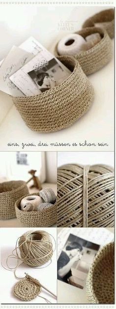 DIY - Crochet storage bowls from packing twine -- first I need to learn to crochet. Crochet Diy, Crochet Storage, Crochet Home, Learn To Crochet, Crochet Crafts, Yarn Crafts, Diy Crafts, Crochet Ideas, Crochet Bags