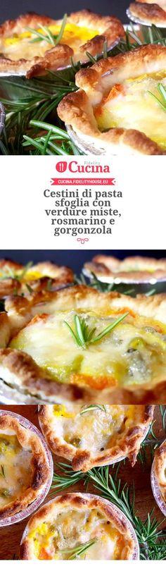 Cestini di pasta sfoglia con verdure miste, rosmarino e gorgonzola