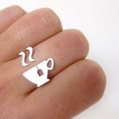 Tea cup Ring Adjustable Sterling Silver Ring - On sale till December 30th