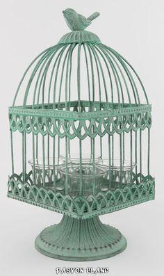 Zu finden bei: http://stores.ebay.de/pasyonblanc   Vogelkäfig Windlicht Laterne Teelicht Glas Metall Shabby Nostalgie Pastell Grün