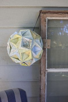 origami ball from old map