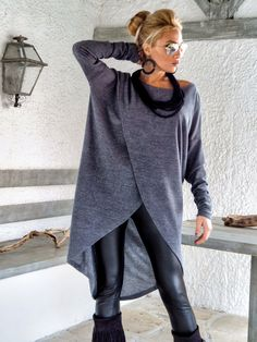 Gray Winter Warm Knitted Asymmetric Blouse / Gray Winter Warm
