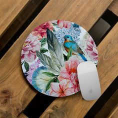 Computer Mousepad Floral Printed Mouse Pad Mat Office Decor Unique... ($11) ❤ liked on Polyvore featuring home, home decor, office accessories, grey, home & living, office, office & school supplies and round mouse pad
