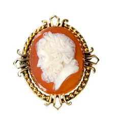 14k carved hard stone Victorian brooch man's portrait by SearchEndsHere on Etsy