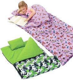 Super-Soft Cotton Flannel Kid's Sleeping Bag with Pillow and Storage Bag