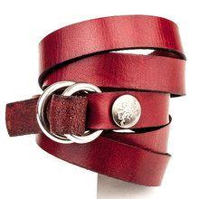5 Wrap Double Silver Ring Bracelet - Cordovan