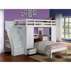 Acme Freya White Storage Bookcase Ladder Staircase Chest Desk Youth Kids Twin Loft Bunk Bed