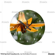 Wild Spotted Canadian Lily Flower Nature Round Clock.  From Smilin' Eyes Treasures at Zazzle.