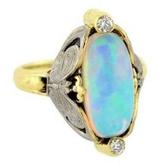 Art Nouveau Mixed Metals Opal Diamond Gold Butterfly Motif Ring