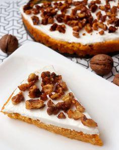 Mrkvovo-tekvicový koláčik s karamelizovanými orechmi - chudnutie - zdravá strava Stevia, Waffles, Sweet Tooth, Healthy Recipes, Cheesecake, Breakfast, Fit, Morning Coffee, Shape