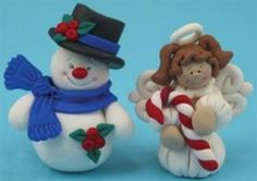 Polymer Clay Snowman and Angel