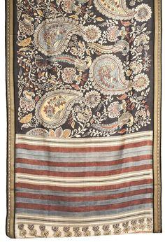 Bindu Giri Handpainted Kalamkari Tussar Silk Sari 1013869 - Sari / All Saris - Parisera