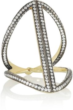 Noor Fares | Rhombus 18-karat rhodium-plated gold, diamond and sapphire ring | NET-A-PORTER.COM