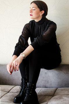 ellie-motolo-blogger Black Outfits, Goth, Zara, Style, Fashion, Black, Elegant, All Black Clothing, Gothic