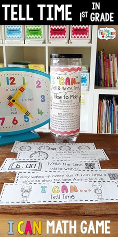 1st grade math game for TELLING TIME. Perfect for math centers, independent practice, whole class review, and progress monitoring. This math game covers ALL Common Core math standards related to telling time in First Grade.