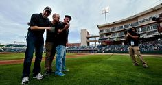 Breaking Bad: Cast poses during a ceremonial first pitch ceremony (April 18th, 2012)... Albuquerque's Isotopes Park... (left to right, actors Bryan Cranston (Walter White), Aaron Paul (Jesse Pinkman), & Jonathan Banks (Mike Ehrmantraut)...
