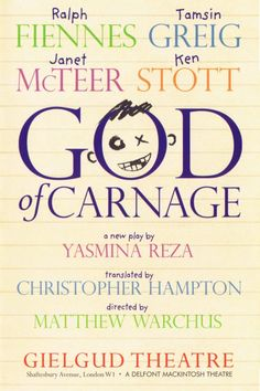 God of Carnage London theatre stage show Theatre Shows, Theatre Stage, Stage Show, Ken Stott, Janet Mcteer, Ralph Fiennes, London Theatre, The Hamptons, March