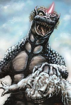 Gabara electrocuting the young Godzilla not good