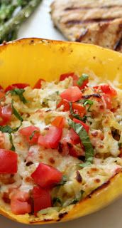 Hoopfinity's Happenings: Gluten Free Goodness: Baked Margherita Spaghetti Squash