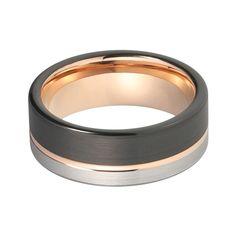 EREAN - pánsky prsteň vyrobený zo vzácneho WOLFRÁMU - trojfarebný dizajn, v: 65 Out Of Style, Titanic, Modern Interior Design, Modern Classic, Gold Rings, Plating, Rose Gold, Silver, Fashion Forward